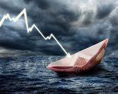 Sinking euro ship. — Stock Photo