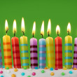 Ten colorful candles — Stock Photo #6482600