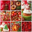 Collage christmas cakes — Stock fotografie