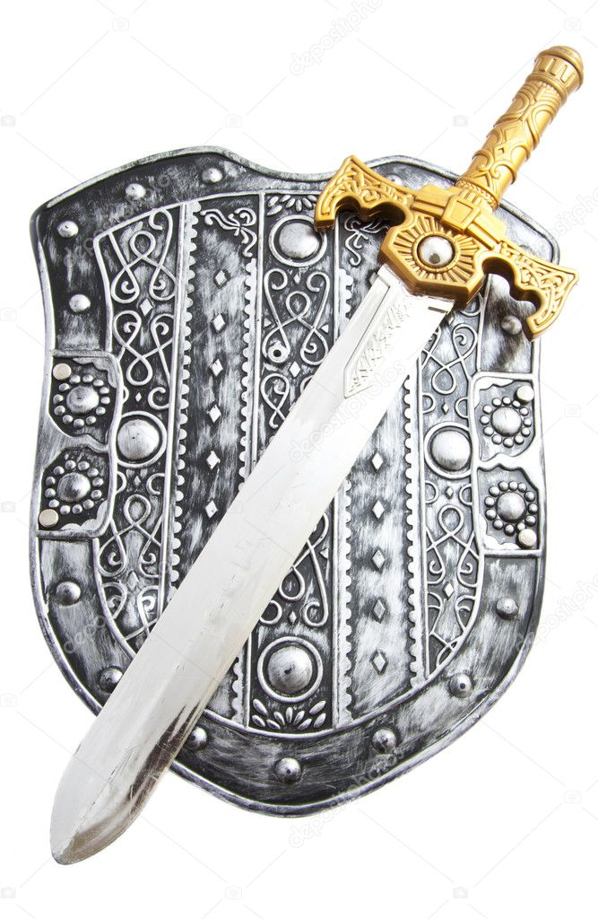Silver shield with sword isolated over white — Stock Photo #5479638