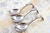 Three amuse spoons — Stock Photo