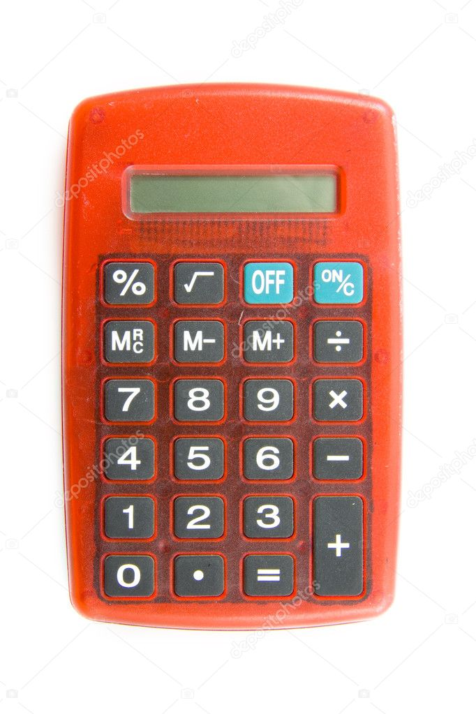 Red calculating machine isolated over white — Stock Photo #6077889