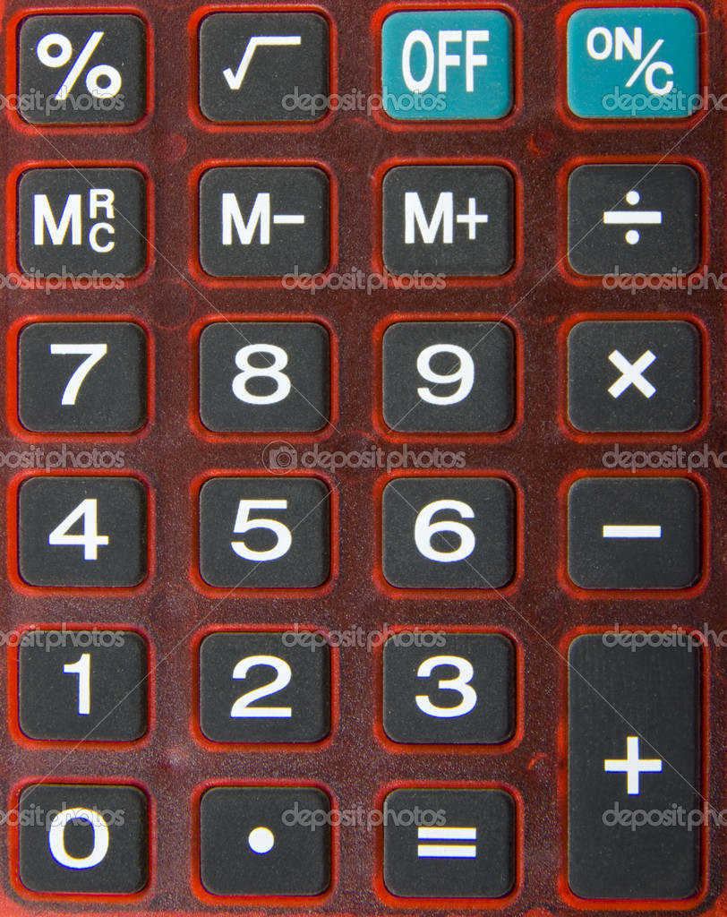 Close up from red modern calculating machine  Stock Photo #6077908