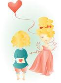 фея девочка и мальчик с сердцем — Cтоковый вектор