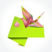 Origami stork delivering girl — Stock Vector