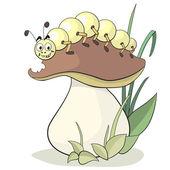 Caterpillar and mushroom — Stock Vector