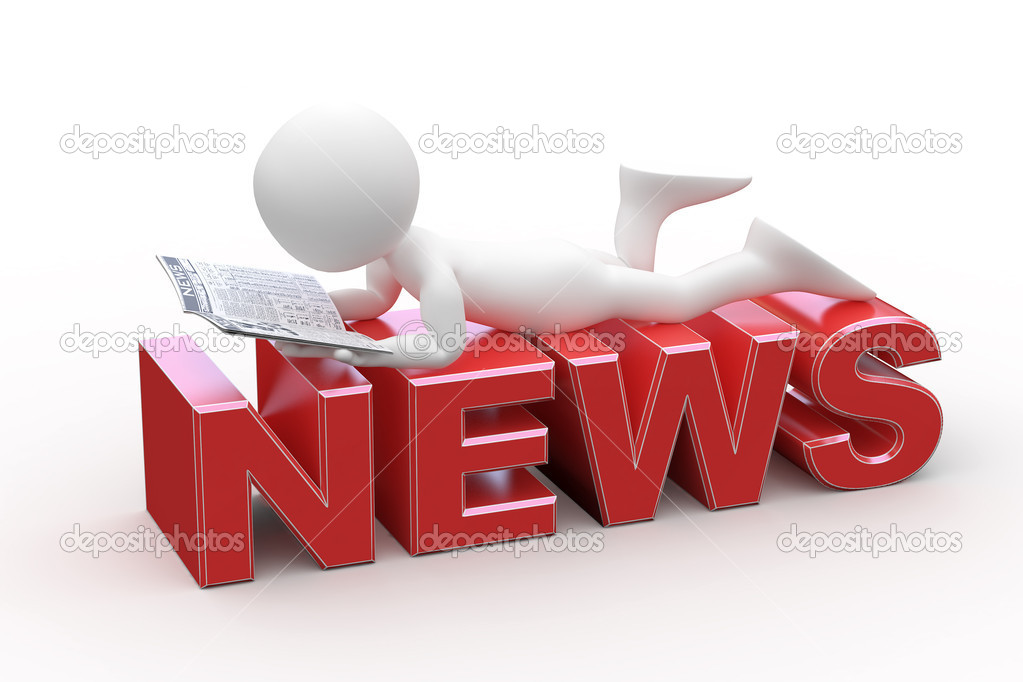 Man reading, lying on the News word  Stock Photo #6584618