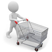 Man pushing a shopping cart empty — Stock Photo