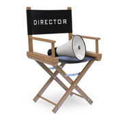 Film director's chair with a megaphone — Stok fotoğraf