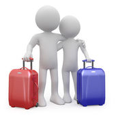 Couple of lovers ready to go away with their suitcases — Stock Photo