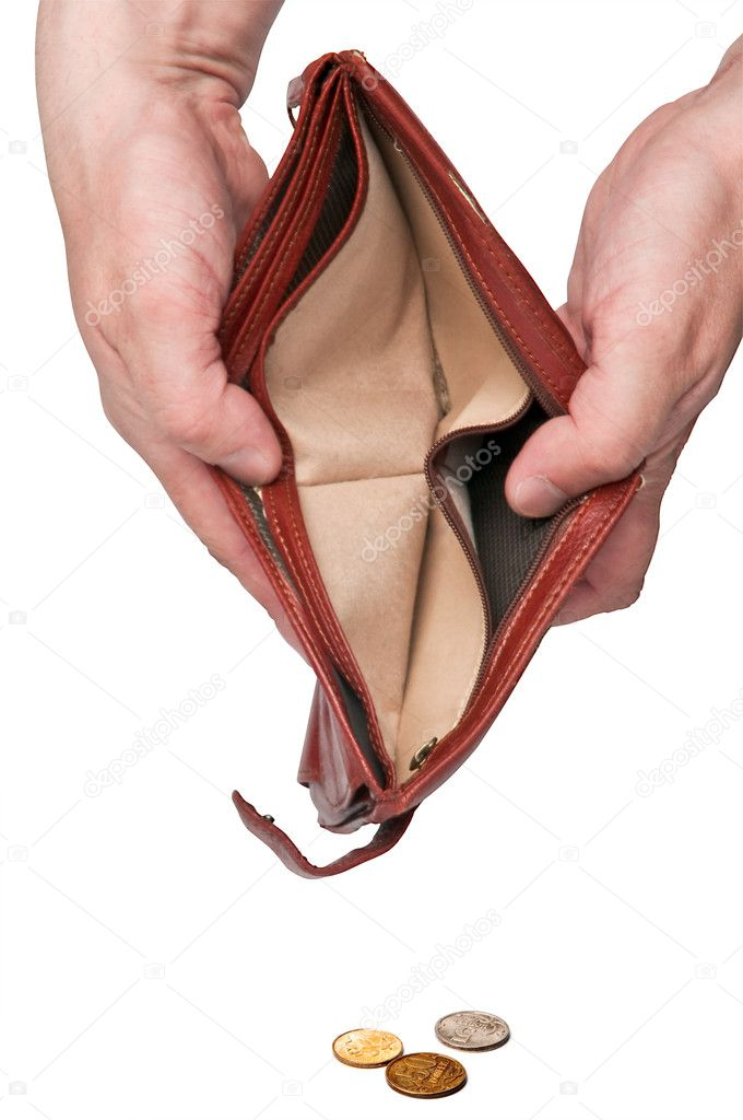 Open an empty wallet in hands and some coins spilled isolated  Stock Photo #5652547