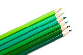 Set of colored pencils, green palette — Stock Photo