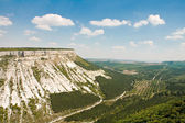 Beautiful landscape in Crimea mountain and valley with a road — Stock Photo