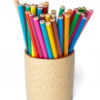 Set of colored pencils in cup — Stock Photo #5786251