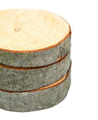 Stacked wooden cross sections — Stock Photo
