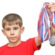 Boy-athlete with medals — Stock Photo #5673077