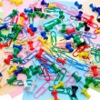 Colored paper clips and pins — Stock Photo #5999866