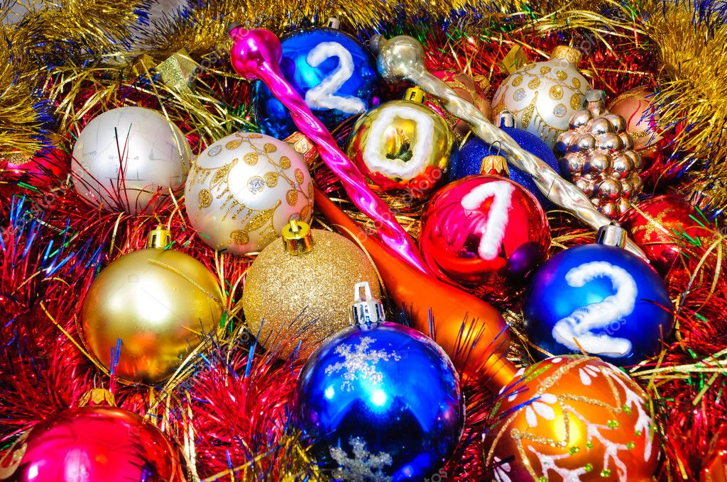 Christmas decorations. Christmas decorations and tinsel in different colors.  Stock Photo #6126234