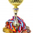 Stock Photo: Sports medals and trophy
