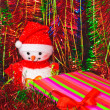 Christmas decorations and tinsel in different colors — 图库照片