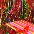 Christmas decorations and tinsel in different colors — Foto Stock