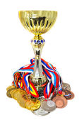 Sports medals and trophy — Stock Photo