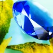 Stock Photo: Blue sapphire and leaves