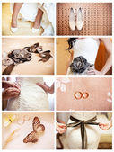 Collage of eight wedding photos — 图库照片