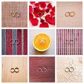 The collage of wedding rings — Foto de Stock