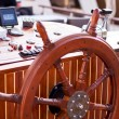 Helm on yacht - Stock Photo