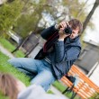 Photographer Takes a Shot of a model — Stock Photo #5469891