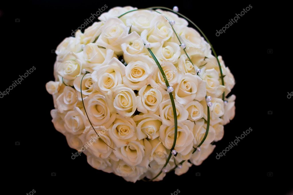 Wedding bouquet of white roses on the black background  Stock Photo #5469851