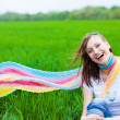 Happy Girl in a scarf — Stock Photo