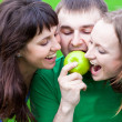 Eating an apple — Stock Photo
