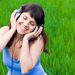 Smiley Girl with the headphones — Foto Stock