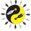 Yin-yang in usb style. Vector illustration. — Stock Vector