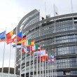 European parliament and flags of the european nations - Stock Photo