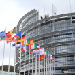 Stock Photo: Europeparliament and flags of europenations