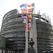 European parliament and flags of the european countries - Stock Photo
