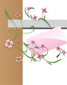 Pink flower banner — Stock Vector