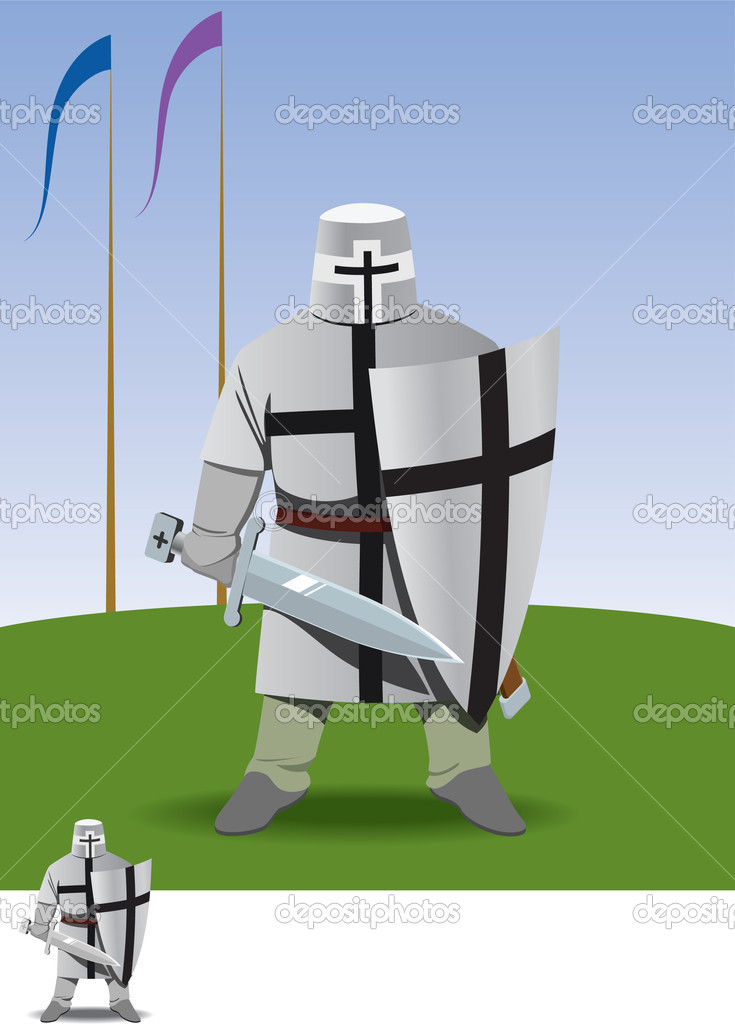 Knight crusader stands with sword in hand on green field — Stock Vector #5466025