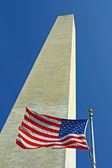 American flag near the Washington Memorial — Stock Photo
