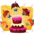 Birthday party - big cake — Stock Vector