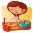 Woman Making Salad — Stock Vector