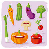 Funny vegetables — Stock Vector