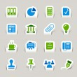 Paper Cut - Office and Business icons - Stock Vector