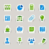 Paper Cut - Office and Business icons — Stock Vector