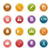 Gekleurde stippen - kantoor en zakelijke pictogrammen — Stockvector