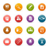 Kolorowe kropki - biuro i biznes ikony — Wektor stockowy