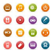 Kolorowe kropki - media ikony — Wektor stockowy